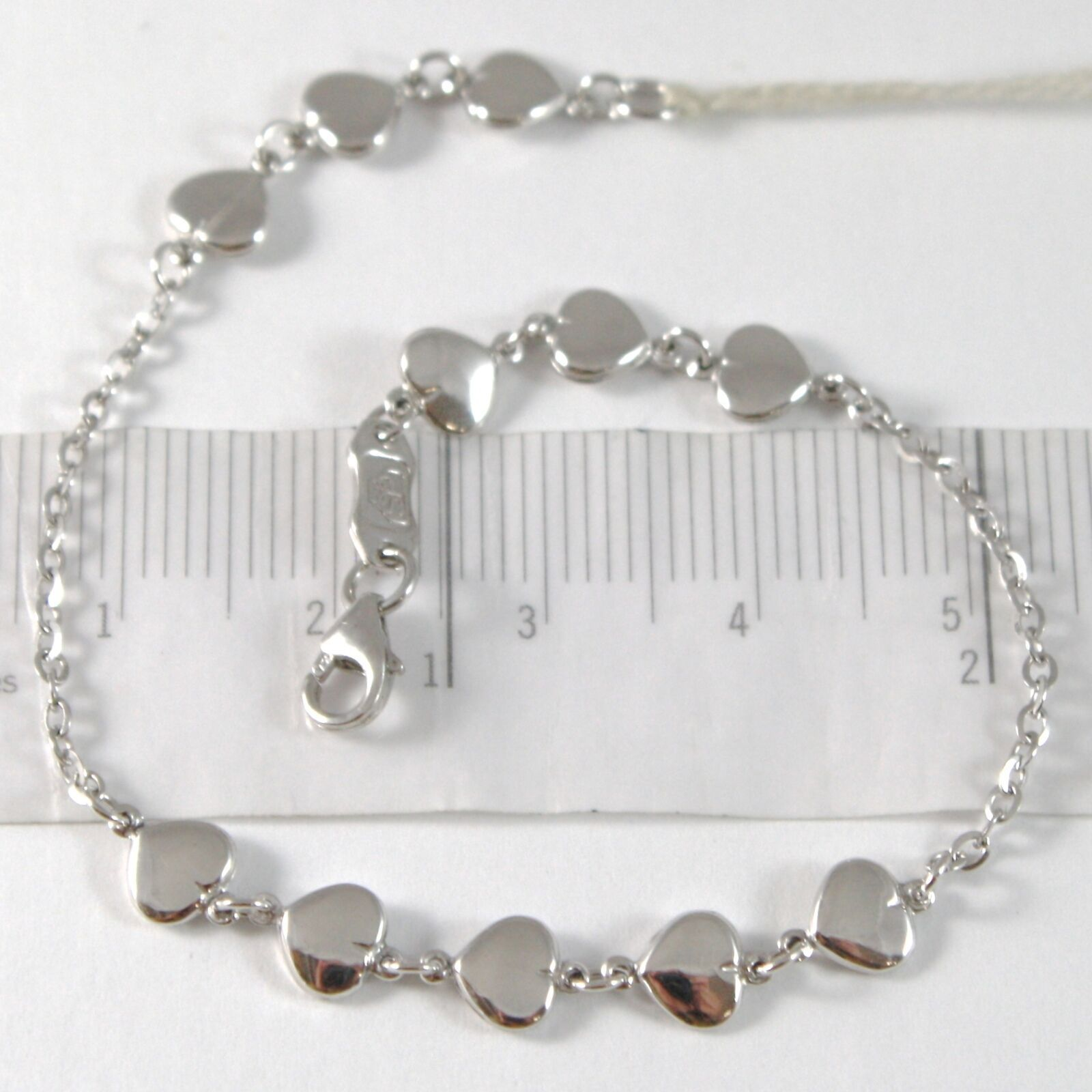 White Gold Bracelet 750 18K with File of Hearts, Heart, Length 18 CM