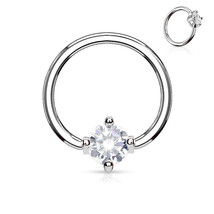 """Captive Nipple Ear Ring 14 Gauge 1/2"""" w/Clear 5mm Pronged Gem Steel Body Jewelry - $7.59"""