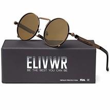 ELVIWR Round Retro Sunglasses for Men and Women Steam Punk Metal Frame B... - $12.82