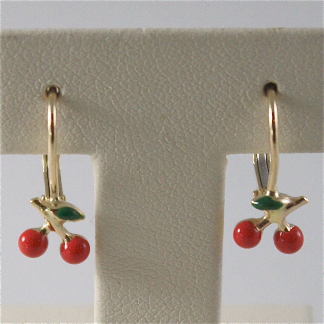 SOLID 18K YELLOW GOLD PENDANT EARRINGS WITH CHERRY, LEVERBACK, MADE IN ITALY