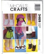 McCalls Crafts Pattern 3469 18inch Doll Accessories Footwear Backpack Mo... - $7.99