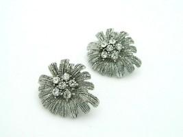 Clear Rhinestone Silver Tone Firework Flower Clip Earrings Vintage - $19.79