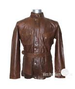 Military Gents Leather Jacket Belt Vintage Distress Brown Motorbike Mens... - $193.27+