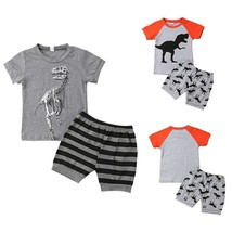 Emmababy Cotton Infant Kids Baby Boys Dinosaur Top T-shirt+Stripe Shorts... - $10.68+