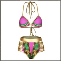 Purple Design Pattern Halter Top High Waist Gold Straps Bandage Bikini Swim Suit image 3