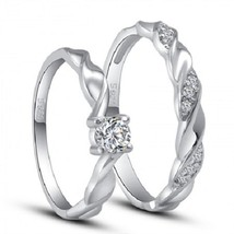 Men's & Women's Twisted Band Matching Ring Set 14k White Gold Plated 925 Silver - $86.45