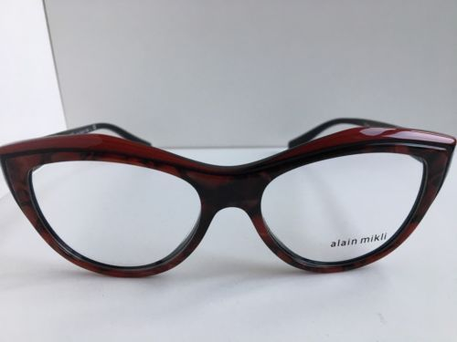 New ALAIN MIKLI A 03041 A03041 C001 52mm Red Cats Eye Eyeglasses Italy