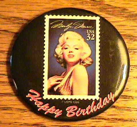 Marilyn Monroe Large Button   32 Cent Stamp   2 1/2""