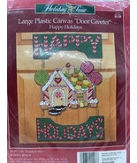 Vintage Large Plastic Canvas Kit Door Hanger Gingerbread Lollipop  Holid... - $20.79