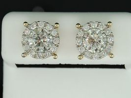 Beautiful White Diamond Stud Earrings For Womens 14k Yellow Gold Over 925 Silver - $94.25