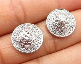 925 Sterling Silver - Vintage Round Paved Cubic Zirconia Stud Earrings - E3631 - $32.42