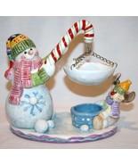HOME INTERIORS Snowman Tea Light Candle Holder  #772 - $32.00