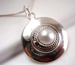 Pearl Round Necklace 925 Sterling Silver with Rope Style Accents New - $17.81
