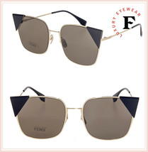 FENDI LEI 0191 Gold Black Brown Geometric Metal Flat Sunglasses FF0191S ... - $178.20