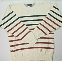 Tommy Hilfiger Vintage Crewneck Sweater White Red Blue Striped Cable Kni... - $28.91
