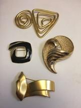 Vintage Mid Century Modern Goldtone Pins 4 Trifari Monet Brooches - $33.79