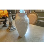 "LENOX CHINA MASTERPIECE FLORAL VASE IRIS EMBOSSED PATTERN14.5"" IVORY & G... - $44.50"