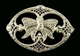 Antique Sterling Rhodium Plated Marcasite Filigree Ribbon Bow Pretty Ova... - $53.99