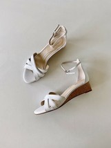 ✨New COLE HAAN Hana Grand Os Leather Wedge Sandals White Womens Size 9 NWOB $150 - $69.90