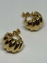 Vintage Signed Napier Gold Tone Shell Half Hoops Screw Back Clip On Earrings - $13.00