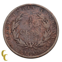 1845 Straits Settlement East India Company (1826 - 1858) 1/4 Cent KM #1 ... - $24.75