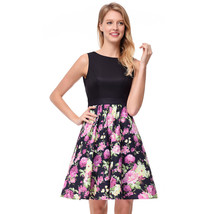 AOVEI Black Floral Print Vest Vintage 1950s Flared A Line Party Pleated Dress - $24.99