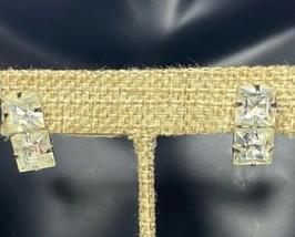 Vintage Silver Tone 2 Clear Crystal Princess Cut Rhinestones Screw Back ... - $18.76