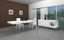 J&M Cloud Modern Style White Lacquer High Gloss W/Glass Feets Dining Table