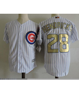 Men's Chicago Cubs #28 Kyle Hendricks White  Champions Gold Cool Base Jersey - $37.88