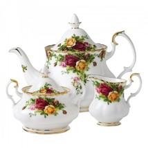 ROYAL ALBERT OLD COUNTRY ROSES TEA POT, CREAMER, SUGAR & COMPLETER SET NIB - $248.87