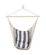 "Northlight 39"" x 43"" Netting Hammock Chair with Striped Cushion and Wood... - $58.15"