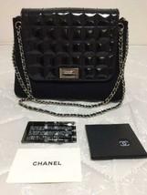 Auth CHANEL W Chain Shoulder Bag Black Matelasse Chocolate Bar Flap Logo B3766 - $1,185.35