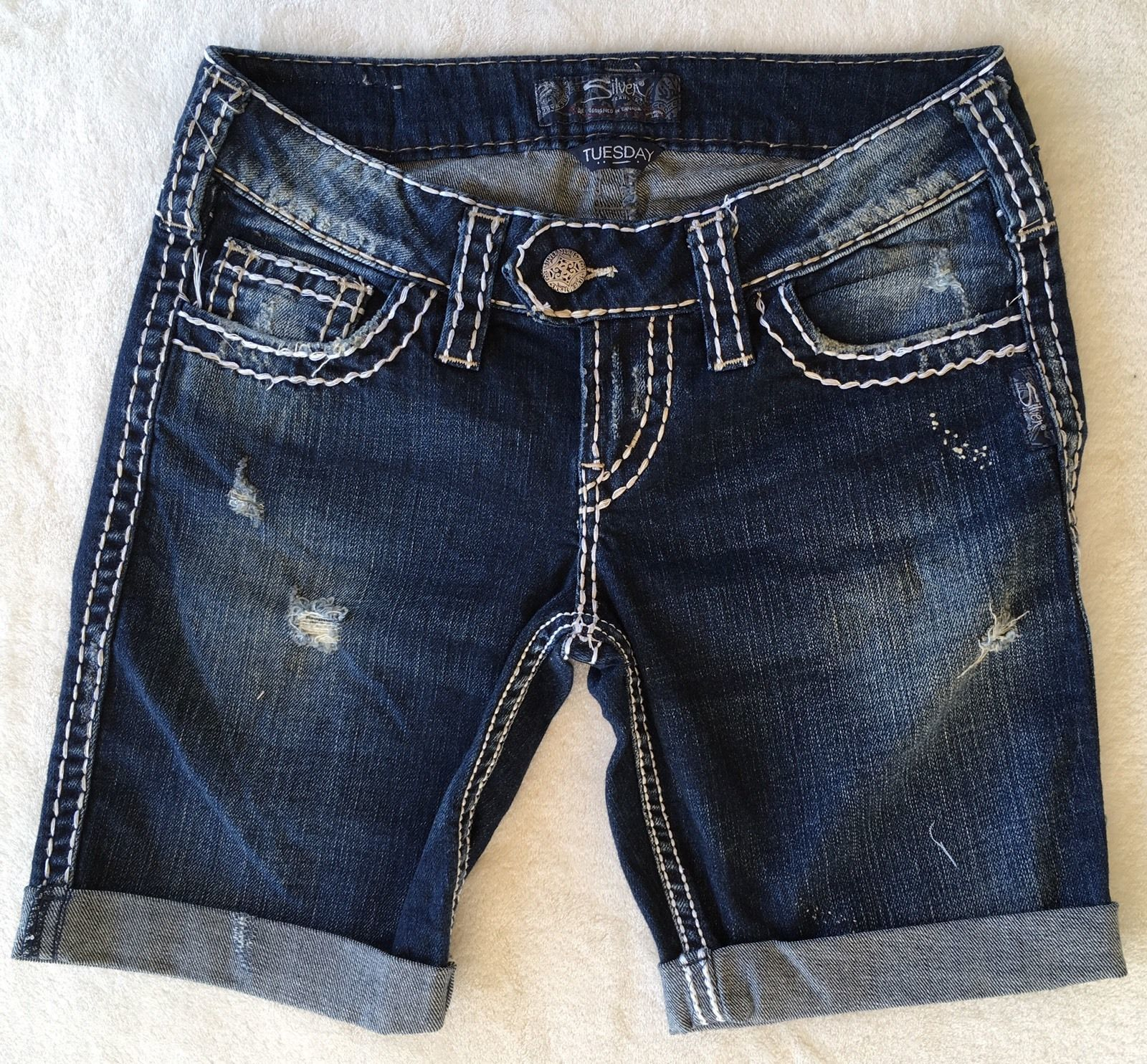 SILVER Jeans Sale Buckle Cheap Low Rise Tuesday Denim Jean Stretch Mid Shorts 26