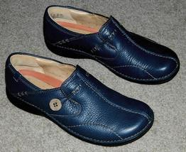 CLARKS Unstructured Women's Navy Blue Leather Slip-On Loafers Size 7.5 M... - $45.00