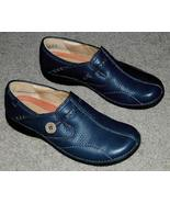 CLARKS Unstructured Women's Navy Blue Leather Slip-On Loafers Size 7.5 Med Width - $45.00