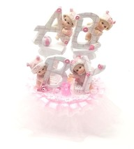 "Baby Shower Birthday cake top playful pink BABY letters design 7"" tall  ... - $29.65"
