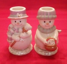 Lenox Christmas JOLLY SNOW COUPLE Candlestick Pair Snowman UNUSED No Box... - $18.69