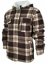 Men's Heavyweight Plaid Zip Up Sherpa Lined Hoodie Brown Jacket w/ Defect
