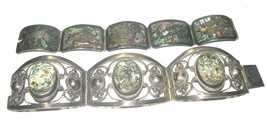 VINTAGE ESTATE WIDE PANEL MEXICAN BRACELETS ONE MARKED STERLING REPAIR/WEAR - $90.00