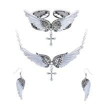 Women's Angel Wing Cross Necklace Earrings Bracelet Set image 9