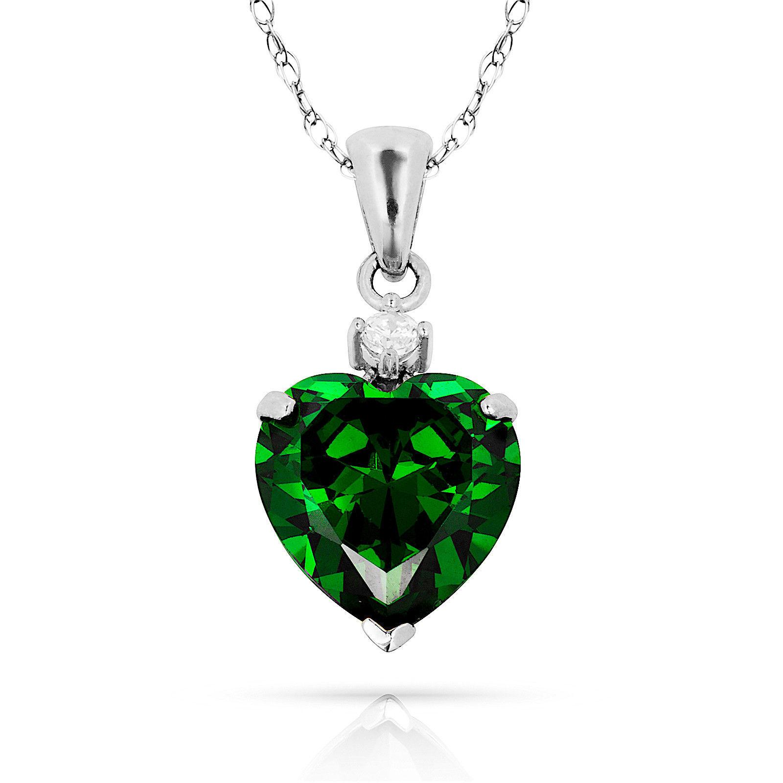 3.07Ct Created Diamond & Heart Emerald Charm Pendant14K White Gold w/Chain