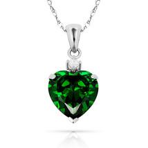 3.07Ct Created Diamond & Heart Emerald Charm Pendant14K White Gold w/Chain - $68.88+