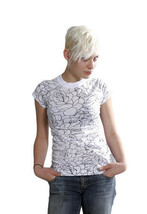 Famous Stars & Straps Donna Nero o Bianco Delirious Juniors T-Shirt 101672 Nwt