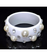 Bangle Bracelet in White Lucite Large Pearls and Sparkling Clear Rhinsto... - $9.99