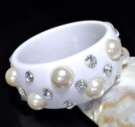 Bangle Bracelet in Black Lucite Large Pearls and Sparkling Clear Rhinstones