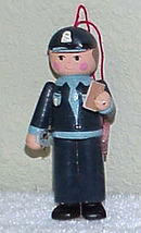 POLICEMAN Vintage Wooden Christmas Ornament 1980's - $5.99