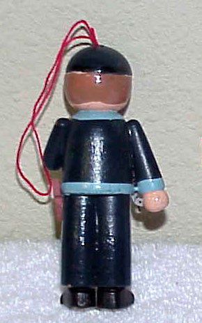 POLICEMAN Vintage Wooden Christmas Ornament 1980's