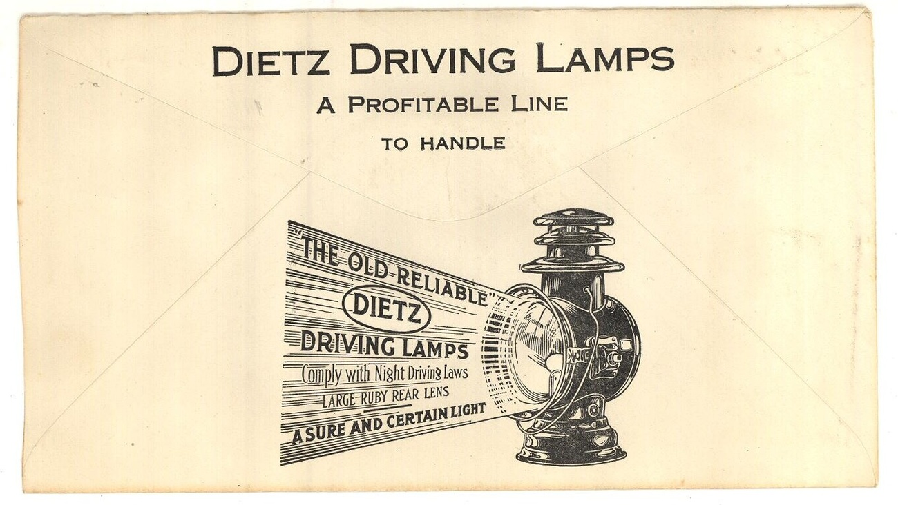 Dietx lanterns advertising postal cover driving lamps 1916