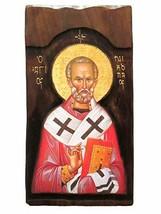 Wooden Greek Christian Orthodox Wood Icon of Saint Nikolaos Nicolas / K4 - $158.30