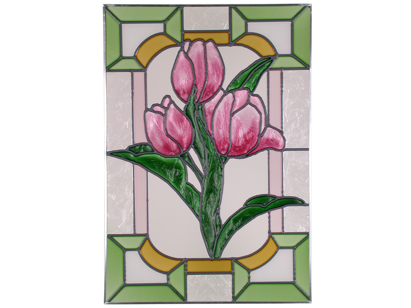 14x20 Stained Art Glass TULIPS Floral Suncatcher Panel